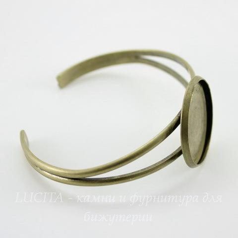 Основа для браслета с сеттингом для кабошона 27 мм, 16 см (цвет - античная бронза)