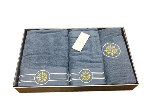 Набор полотенец  ELEGANGE - ЭЛЕГАНЗ  с ковриком голубой Maison Dor (Турция)