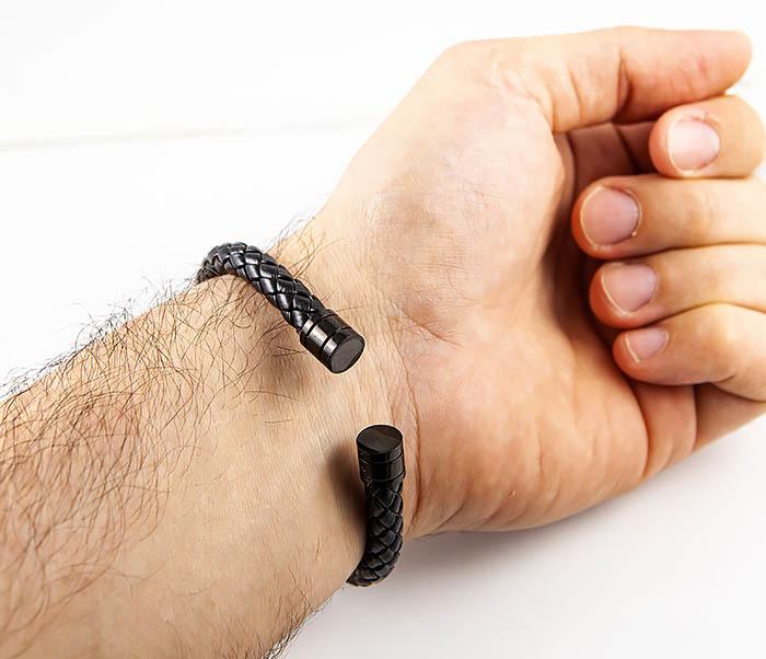 BM559-1 Браслет наручник из шнура черного цвета фото 08