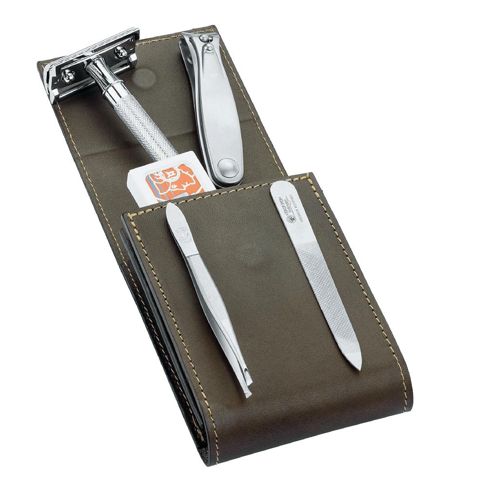 Набор бритвенный Dovo, 5 предметов, цвет коричневый, кожаный футляр