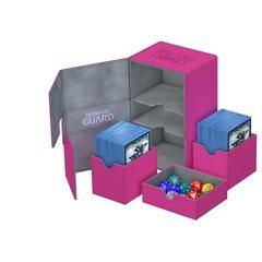 Ultimate Guard - Двойная кожаная розовая коробочка с отделением для кубиков на 160 карт