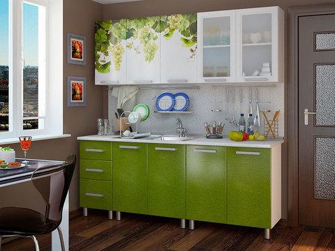 Кухня 2,0м Люкс Лоза БТС Белый/фотопечать