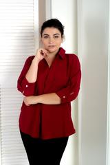 Айрис, женская блузка больших размеров. Бордо