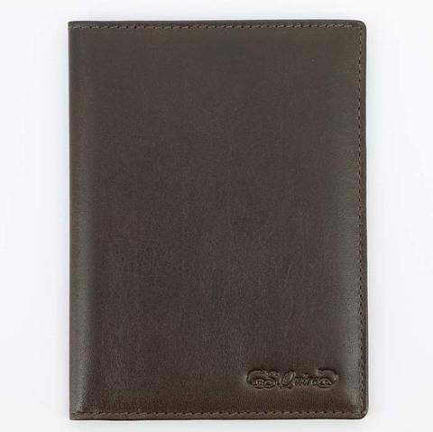 Обложка для паспорта 5400-BR VT с отделением для визиток из натуральной воловьей кожи цвет коричневый  в подарочной фирменной упаковке