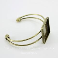 Основа для браслета с сеттингом для кабошона 25х25 мм, 14 см (цвет - античная бронза)