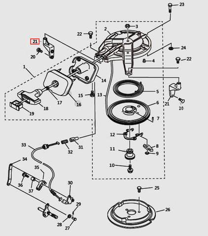 Кронштейн стартера для лодочного мотора T9.8 Sea-PRO (7-21)