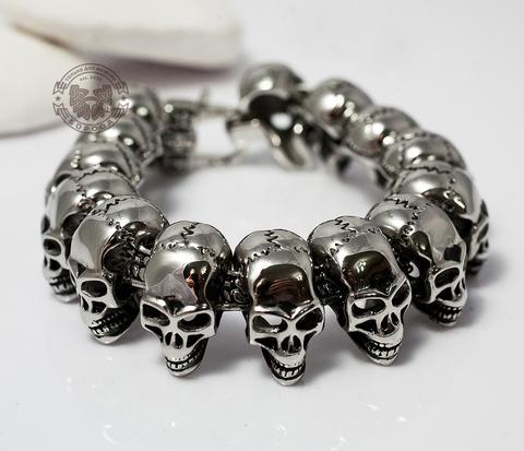 Массивный мужской браслет с черепами из ювелирной стали (21 см)