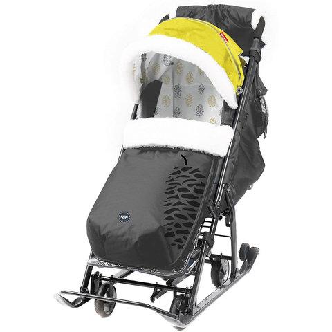 Санки-коляска Nika Ника детям 7-5, черный с золотом