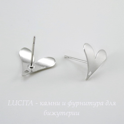 "Пуссеты - гвоздики ""Сердечки"" 14х12 мм (цвет - платина)(без заглушек)"