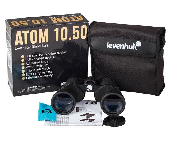 Комплект поставки Бинокль Levenhuk Atom 10x50: защитные крышки, чехол, салфетка