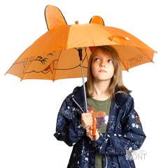 Детский зонтик оранжевый со слоником и ушками со свистком
