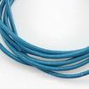 Шнур (нат. кожа), 2 мм, цвет - голубой, примерно 1 м