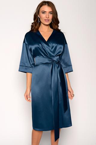 """Почувствуй себя королевой и будь всегда в центре внимания. В этом тебе поможет шикарное платье """"на запах"""" с поясом, изящно подчеркивающем талию. Спущенное плечо, рукав 3/4 с манжетом. (Длина 104 см)"""