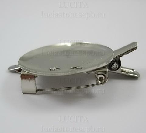 Основа для броши с круглой площадкой (29 мм)  с двумя креплениями (цвет - никель) ()