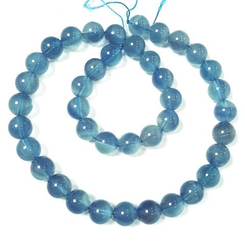 Бусины флюорит голубой А шар гладкий 10 мм 19 бусин