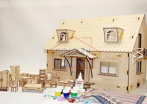 """Деревянный конструктор """"Кукольный домик с мансардой"""" с большим набором мебели"""