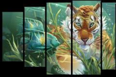 """Модульная картина """"Подводный тигр"""""""