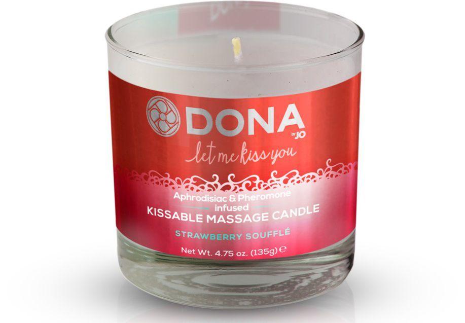 Массажные масла и свечи: Массажная свеча DONA Strawberry Souffle с ароматом клубничного суфле - 135 гр.