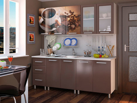 Кухня 2,0м Люкс Шоколад БТС Белый/фотопечать