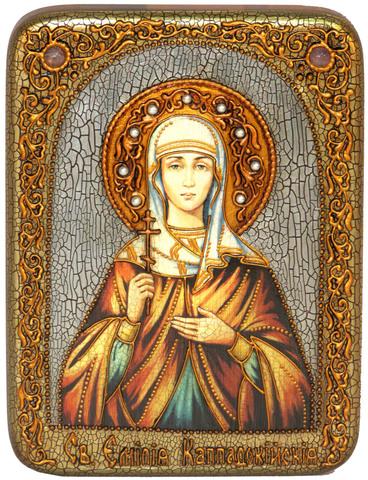 Инкрустированная икона Святая Емилия Кесарийская (Каппадокийская) 20х15см на натуральном дереве, в подарочной коробке