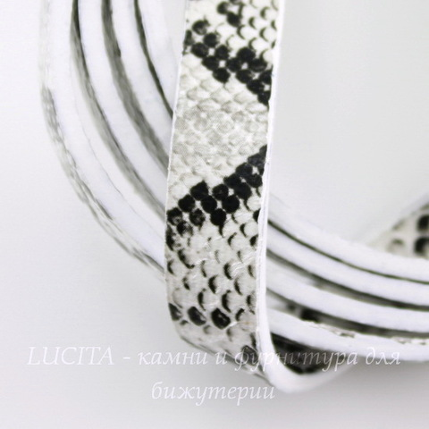"Шнур (искусств. кожа), 10х2 мм, ""Змея"", цвет - серый, 1,1-1,2 м"