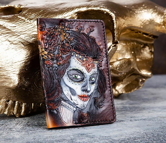 BC173 Обложка на паспорт с девушкой в стиле Дня Мертвых фото 01
