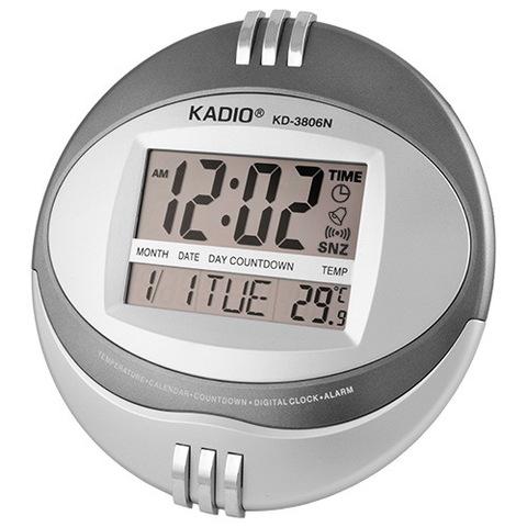 Часы настенные круглые Kadio KD-3806N, 2xAA, дата, температура, будильник, календарь