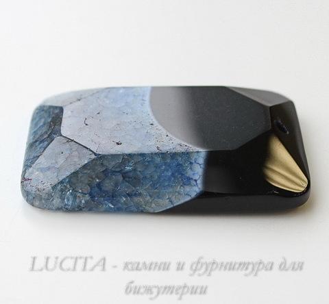 Подвеска Агат с Кварцем с огранкой (цвет - черный+синий) 57х38х9 мм ()
