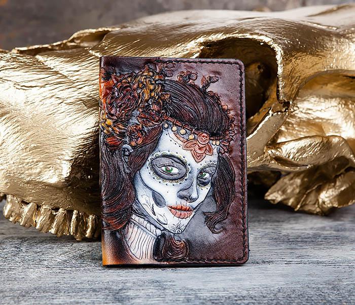 BC173 Обложка на паспорт с девушкой в стиле Дня Мертвых фото 02