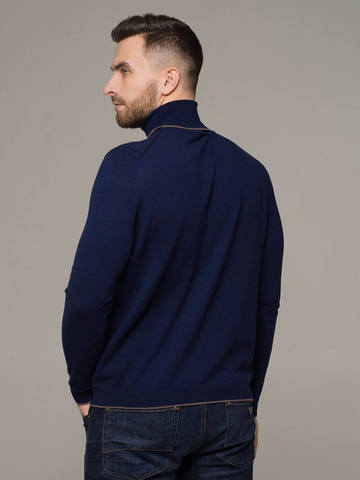 Dark blue male jumper made of 100% cashmere - фото 2