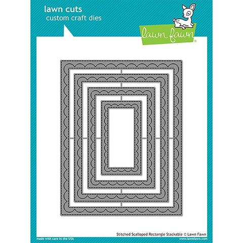 Ножи Lawn Cuts Custom Craft Stackables Dies Outside In Stitched Scalloped Rectangle