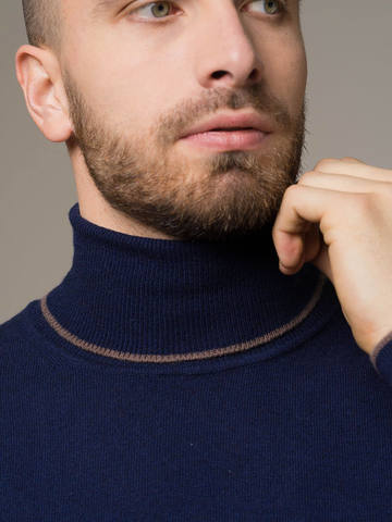 Dark blue male jumper made of 100% cashmere - фото 4