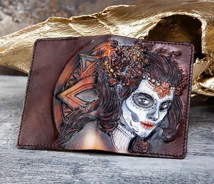 BC173 Обложка на паспорт с девушкой в стиле Дня Мертвых фото 04