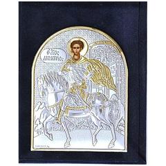 Димитрий Солунский Великомученик Фессалоникийский, Мироточивый. Маленькая серебряная икона в бархатном футляре