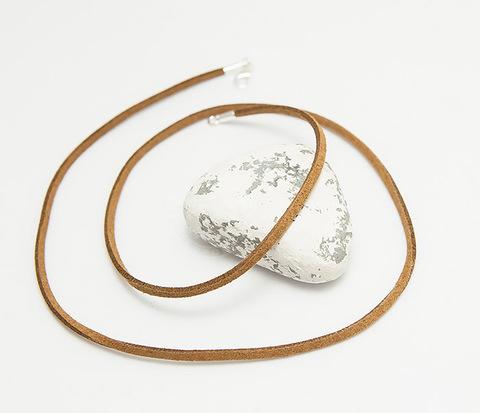 Коричневый шнур из натуральной замши (55 см)
