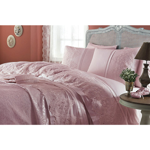 Набор КПБ с покрывалом  Gelin Home  DONNA  темно-розовый евро