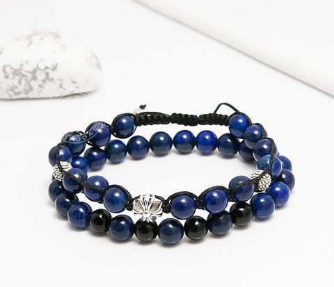 Пара синих мужских браслетов ручной работы из камня