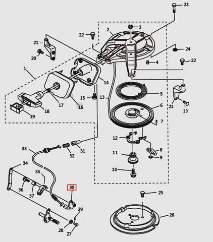 Кронштейн троса блокировки для лодочного мотора T9.8 Sea-PRO (7-30)