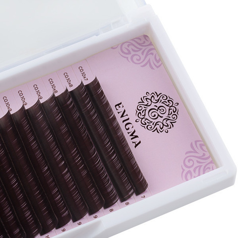 Ресницы коричневые Enigma цвет «Мокка», изгиб D mix (16 линий)