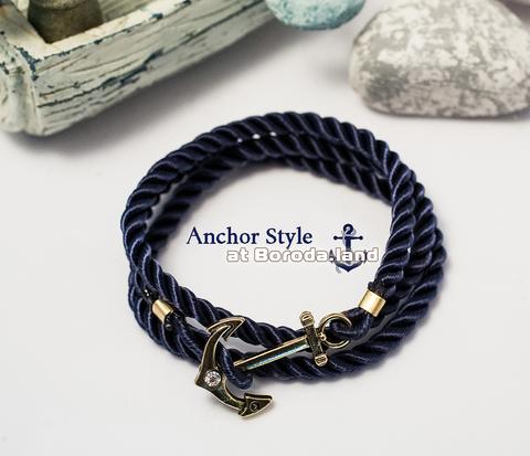 BD115-2 Темно-синий браслет из шнура с якорем золотого цвета