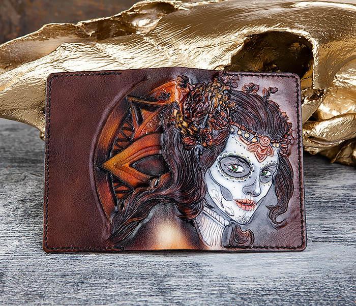 BC173 Обложка на паспорт с девушкой в стиле Дня Мертвых фото 06