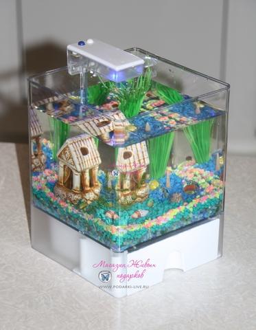 Мини аквариум куб 3 л с подсветкой №0024