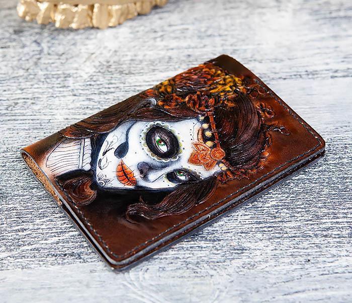 BC173 Обложка на паспорт с девушкой в стиле Дня Мертвых фото 07