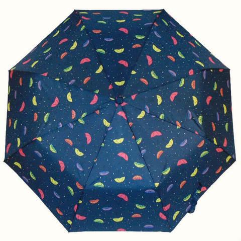 Синий зонтик с каплями дождя