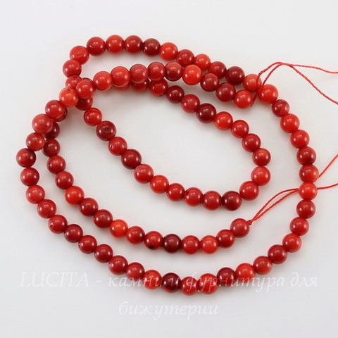 Бусина Коралл (прессов), шарик, цвет - красный, 4 мм, нить