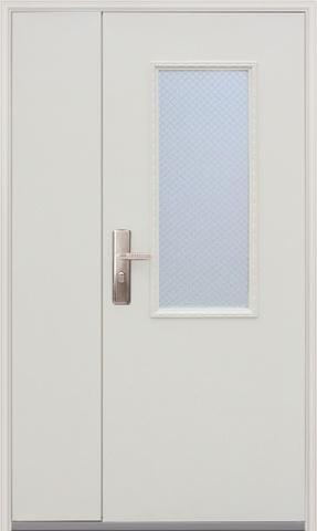Дверь входная D-708 (арм. стекло) стальная, белый, 1 замок, фабрика Большие двери