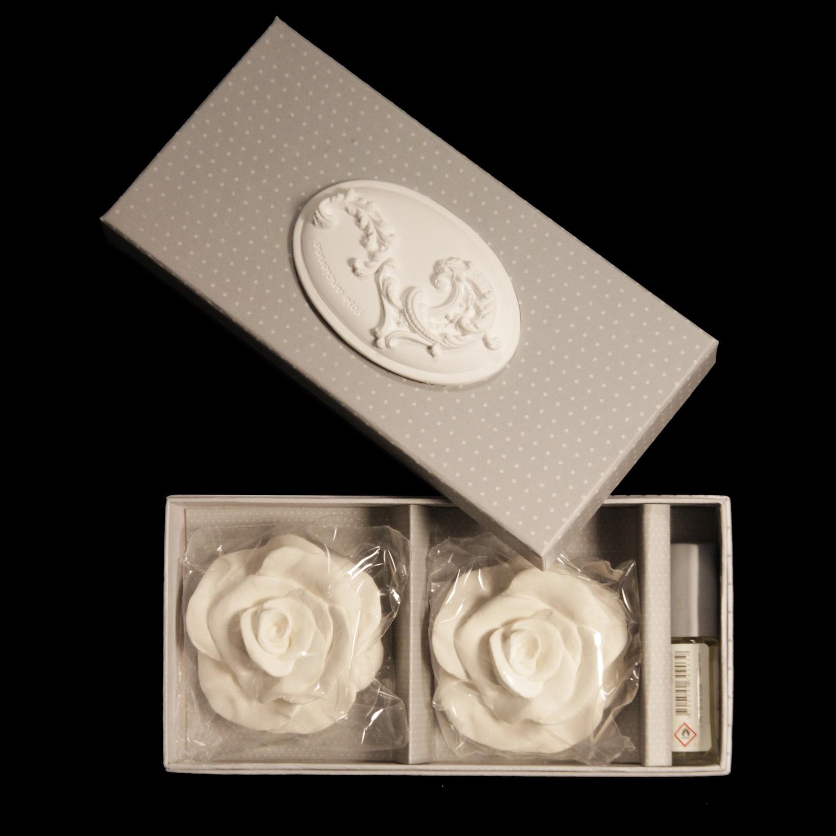 Коробочка: 2 розы+парфюм ROSE ANCIENNE MATHILDE M