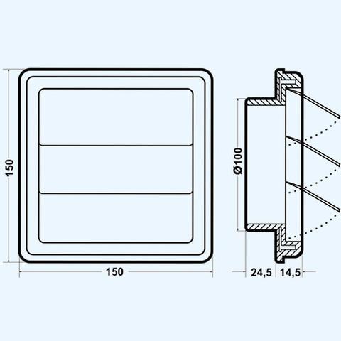 Решетка вытяжная с гравитационными жалюзи (150х150, D100) Эра 1515К100Ф