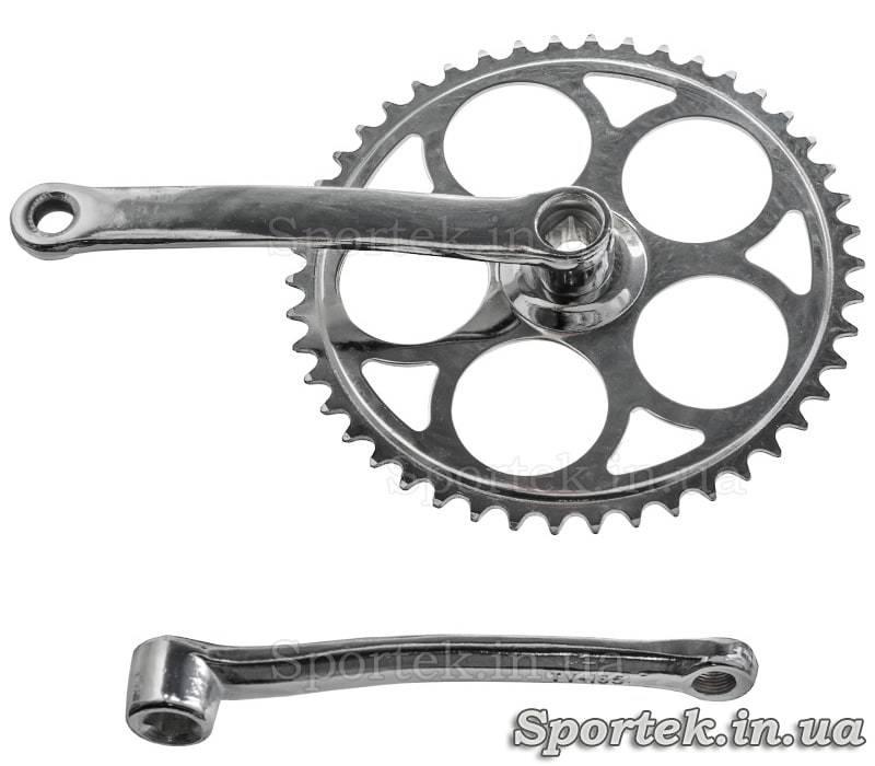 Шатуны для односкоростного велосипеда под квадрат, звезда на 46 зубьев, 165 мм
