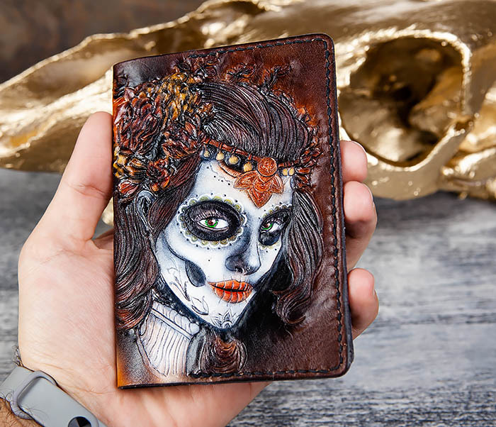 BC173 Обложка на паспорт с девушкой в стиле Дня Мертвых фото 08